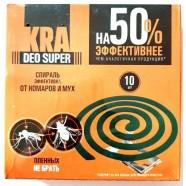 Спирали от комаров и мух KRA DEO SUPER, 10шт.
