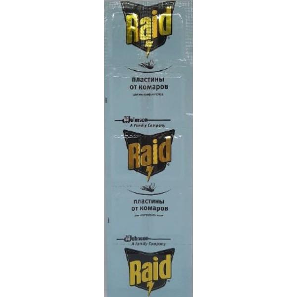 Пластина для фумигатора от комаров без запаха Raid, 10 шт.