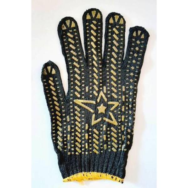 Робочі щільні бавовняні рукавички з ПВХ заливкою Зірка