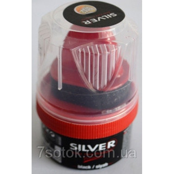 Крем-краска для обуви с губкой SILVER, черный, 60мл