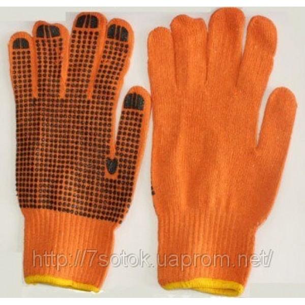 Перчатки рабочие с нанесением ПВХ-точки (оранжевые/синие)