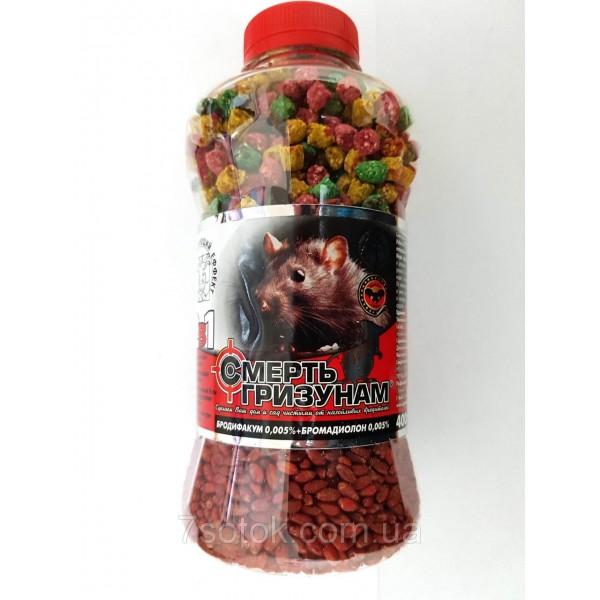 Засіб родентицидний Смерть гризунів 2 в 1 зерно червоне + гранула мікс банку, 400г