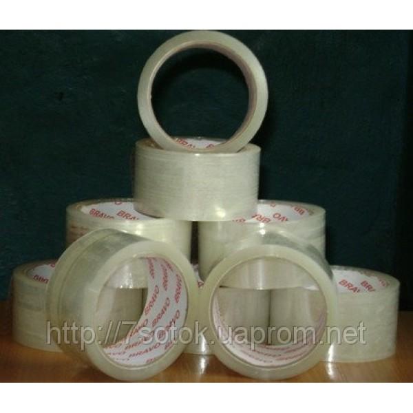 Клейкая упаковочная лента (Скотч) прозрачная, ширина 45мм, длина 10м